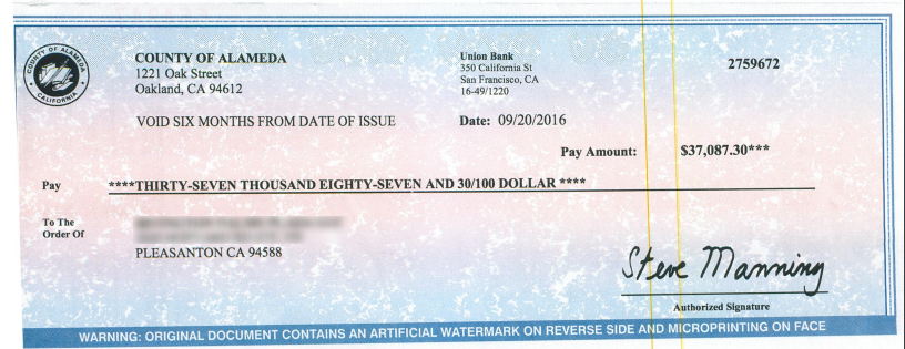Irvington County of Alameda Refund Check